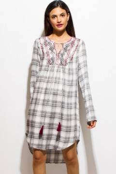 PINK SODA TUNIC PLAID DRESS