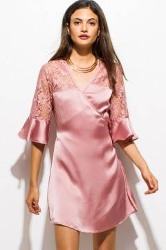 PINK SODA SATIN PARTY DRESS