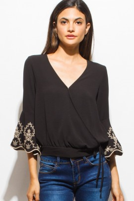 EMBROIDERED MID TIE BLOUSE
