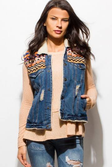 PINK SODA BLUE DISTRESSED DENIM VEST